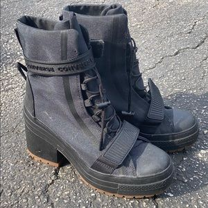 Converse 8.5 women's platform canvas boots black